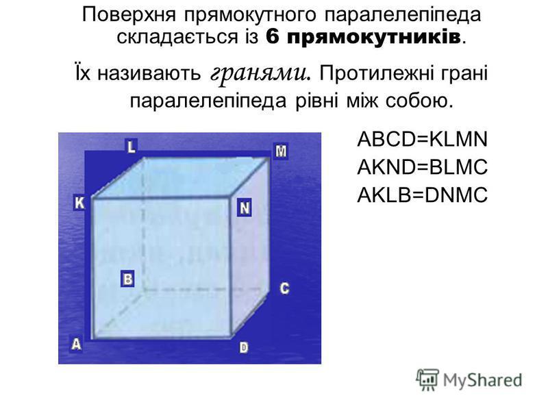 Поверхня прямокутного паралелепіпеда складається із 6 прямокутників. Їх називають гранями. Протилежні грані паралелепіпеда рівні між собою. ABCD=KLMN AKND=BLMC AKLB=DNMC