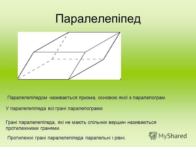 Паралелепіпед Паралелепіпедом називається призма, основою якої є паралелограм. У паралелепіпеда всі грані паралелограми Грані паралелепіпеда, які не мають спільних вершин називаються протилежними гранями. Протилежні грані паралелепіпеда паралельні і
