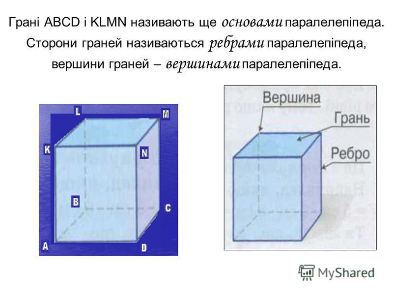 Грані ABCD і KLMN називають ще основами паралелепіпеда. Сторони граней називаються ребрами паралелепіпеда, вершини граней – вершинами паралелепіпеда.