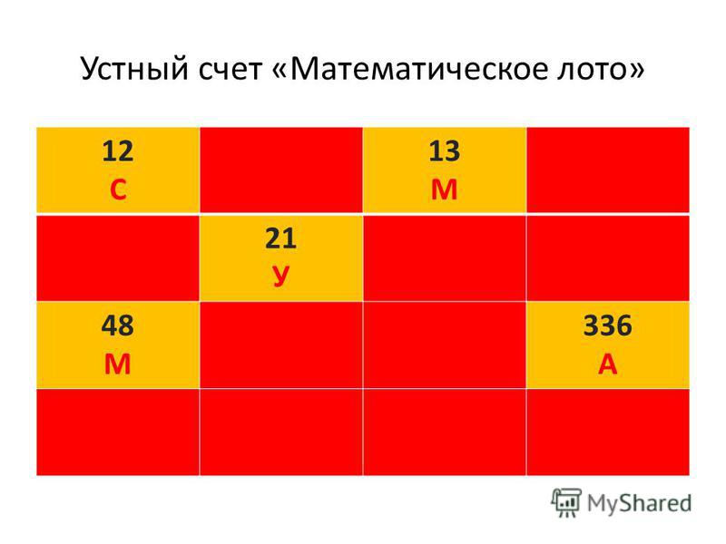 Устный счет «Математическое лото» 12 СЗ 13 МН П 21 УОТ 48 МЕЬ 336 А РИЕР
