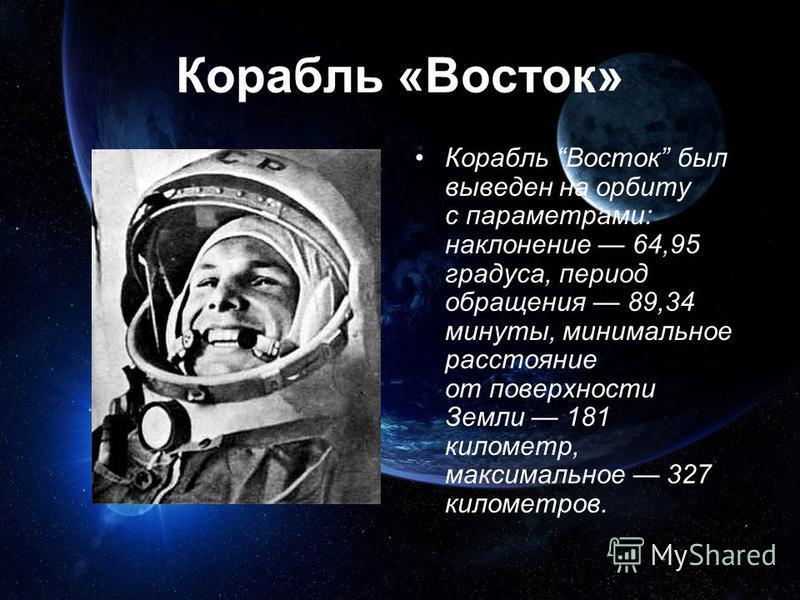 Корабль «Восток» Корабль Восток был выведен на орбиту с параметрами: наклонение 64,95 градуса, период обращения 89,34 минуты, минимальное расстояние от поверхности Земли 181 километр, максимальное 327 километров.