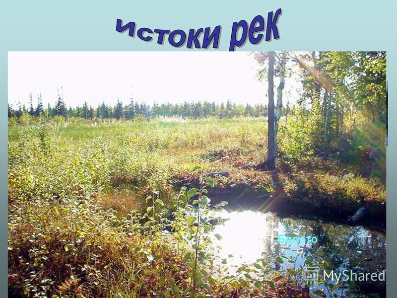 Родник Ледник р. Волга р. Терекр. Москва Озеро р. Ангара Болото