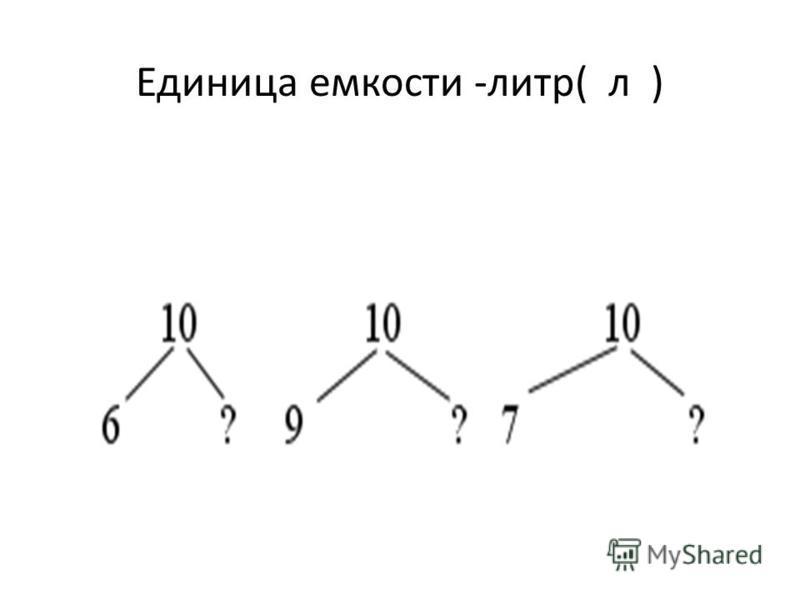 Единица емкости -литр( л )
