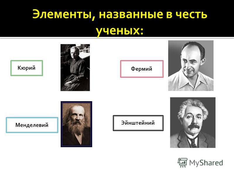 Кюрий Менделевий Фермий Эйнштейний