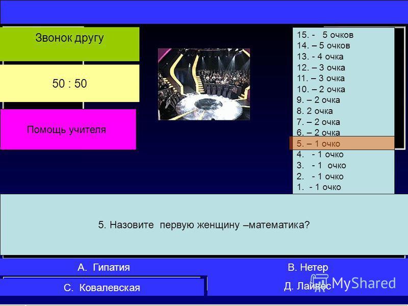 4. Стрелки часов показывают 7 часов Какой угол образуют часовая и минутная стрелки? 15. - 5 очков 14. – 5 очков 13.- 4 очка 12. – 3 очка 11. – 3 очка 10. – 2 очка 9. – 2 очка 8. 2 очка 7. – 2 очка 6. – 2 очка 5. – 1 очко 4.- 1 очко 3.- 1 очко 2.- 1 о