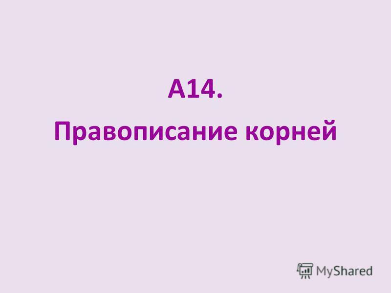 А14. Правописание корней