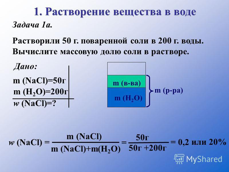 1. Растворение вещества в воде Задача 1 а. Растворили 50 г. поваренной соли в 200 г. воды. Вычислите массовую долю соли в растворе. Дано: m (NаCl)=50 г m (H 2 O)=200 г w (NаCl)=? m (в-ва) m (р-ра) m (H 2 O) w (NаCl) = m (NаCl) m (NаCl)+m(H 2 O) = 50