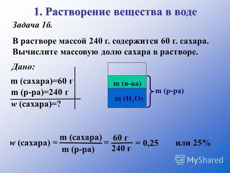 1. Растворение вещества в воде Задача 1 б. В растворе массой 240 г. содержится 60 г. сахара. Вычислите массовую долю сахара в растворе. Дано: m (сахара)=60 г m (р-ра)=240 г w (сахара)=? m (в-ва) m (р-ра) m (H 2 O) w (сахара) = m (сахара) m (р-ра) = 6