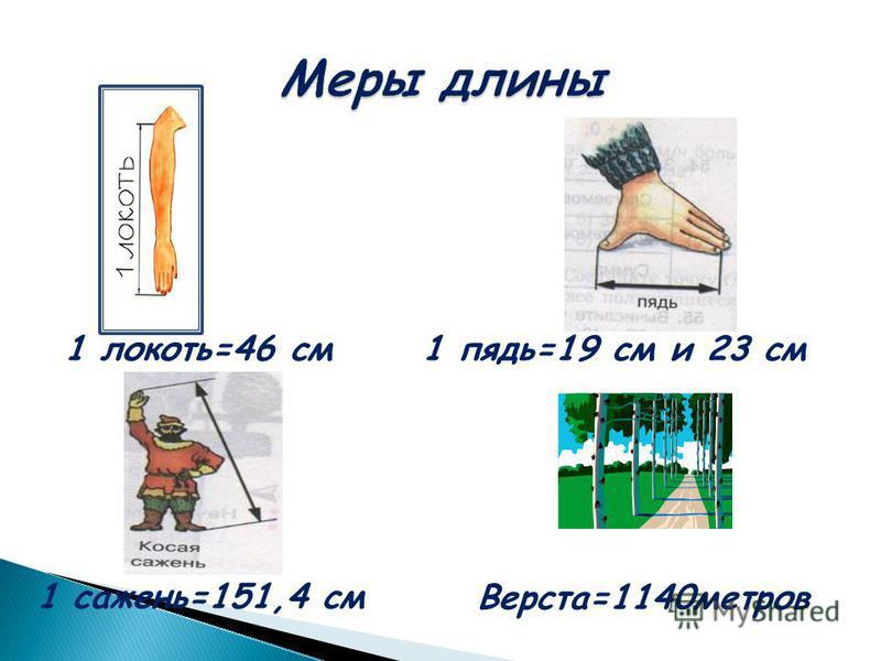Три основных древнерусские меры длины носят названия частей тела. Меньшая мера – малая пядь –расстояние между раздвинутым большим и указательным пальцами и соответствует 19 см; большая пядь – расстояние между большим пальцем и мизинцем – около 22 – 2