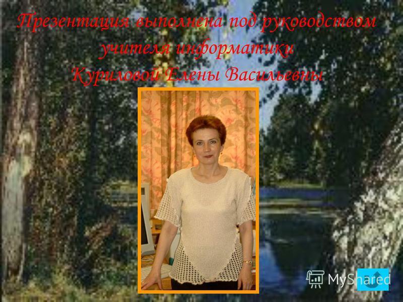 Презентация выполнена под руководством учителя информатики Куриловой Елены Васильевны