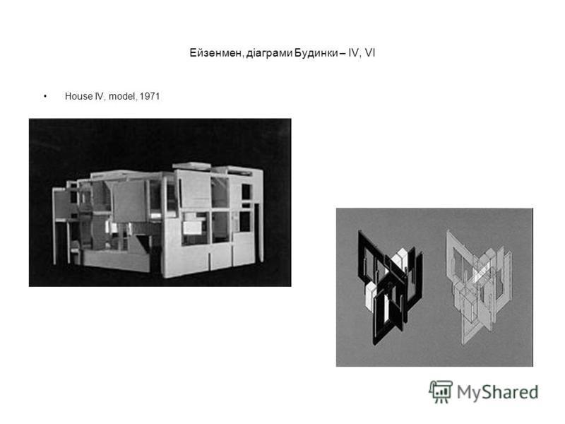 Ейзенмен, діаграми Будинки – IV, VI House IV, model, 1971