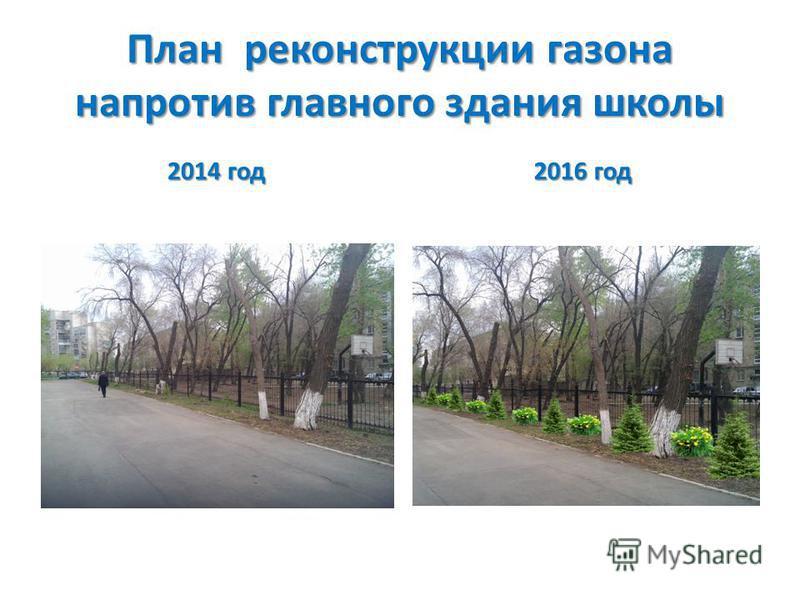 План реконструкции газона напротив главного здания школы 2014 год 2016 год