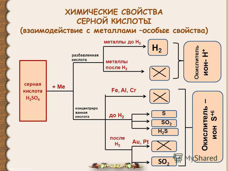ХИМИЧЕСКИЕ СВОЙСТВА СЕРНОЙ КИСЛОТЫ (взаимодействие с металлами –особые свойства) серная кислота H 2 SO 4 + Ме разбавленная кислота концентрированная кислота металлы до Н 2 Н2Н2 металлы после Н 2 Окислитель ион- Н + Fe, Al, Cr до Н 2 S SO 2 H2SH2S пос