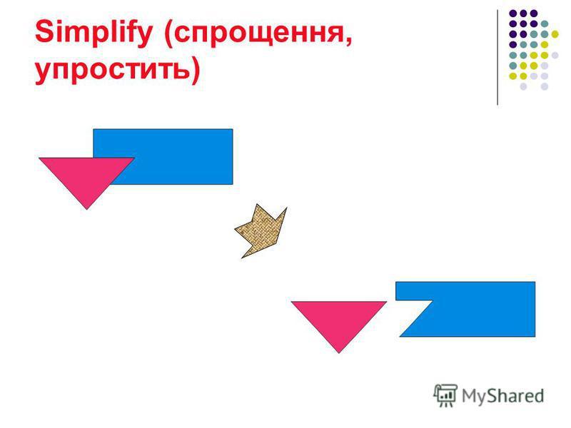 Simplify (cпрощення, упростить)