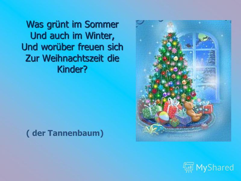 Was grünt im Sommer Und auch im Winter, Und worüber freuen sich Zur Weihnachtszeit die Kinder? ( der Tannenbaum)