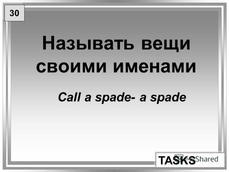 Называть вещи своими именами TASKS Call a spade- a spade 30