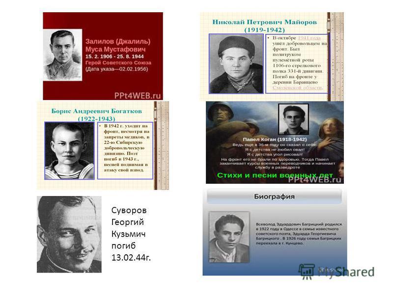 Суворов Георгий Кузьмич погиб 13.02.44 г.