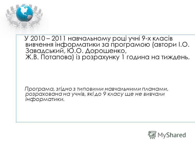 У 2010 – 2011 навчальному році учні 9-х класів вивчення інформатики за програмою (автори І.О. Завадський, Ю.О. Дорошенко, Ж.В. Потапова) із розрахунку 1 година на тиждень. Програма, згідно з типовими навчальними планами, розрахована на учнів, які до