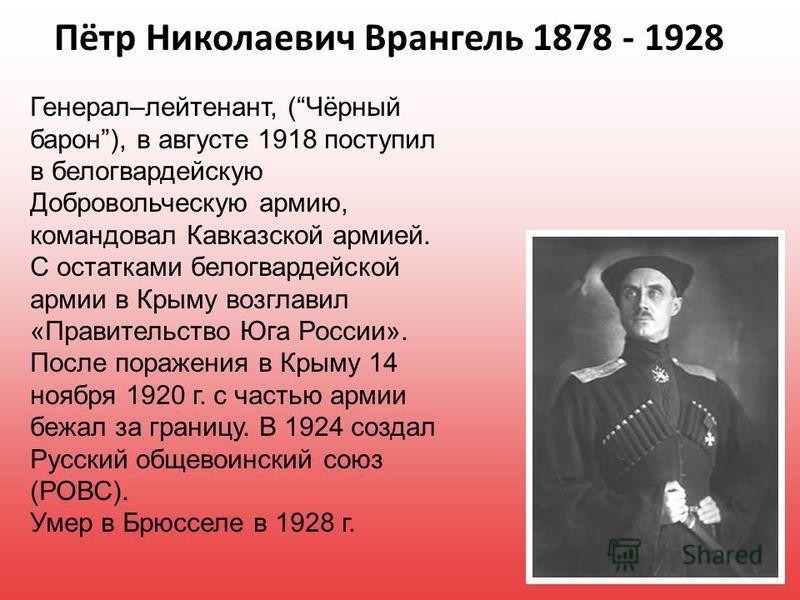 Пётр Николаевич Врангель 1878 - 1928 Генерал–лейтенант, (Чёрный барон), в августе 1918 поступил в белогвардейскую Добровольческую армию, командовал Кавказской армией. С остатками белогвардейской армии в Крыму возглавил «Правительство Юга России». Пос