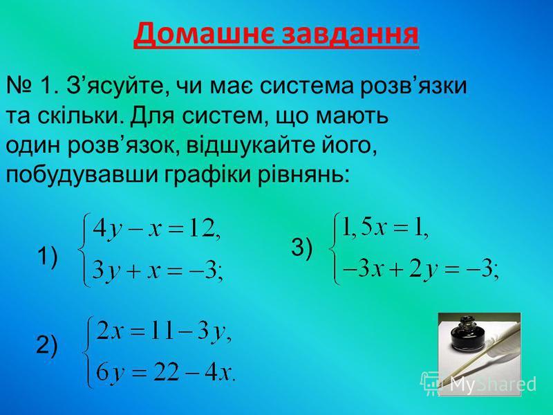 Домашнє завдання 1. Зясуйте, чи має система розвязки та скільки. Для систем, що мають один розвязок, відшукайте його, побудувавши графіки рівнянь: 1) 2) 3)