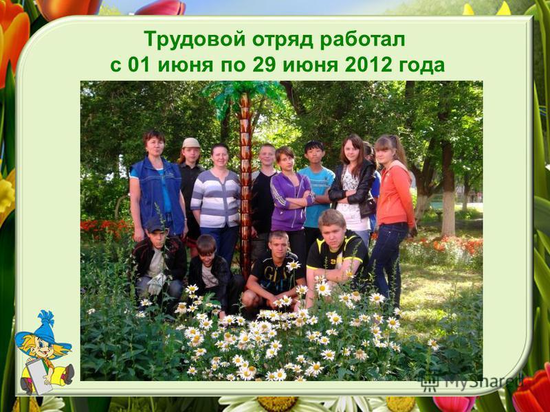 Трудовой отряд работал с 01 июня по 29 июня 2012 года