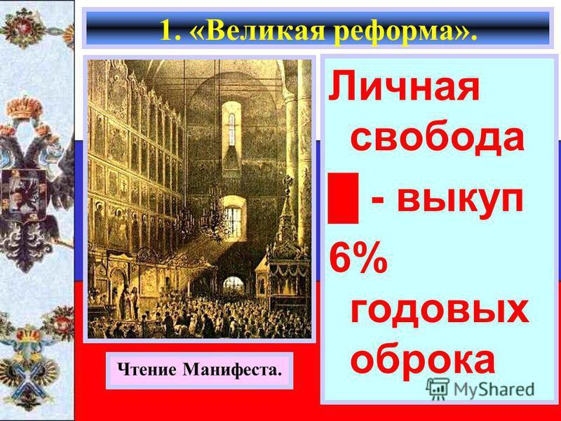 Личная свобода - выкуп 6% годовых оброка 1. «Великая реформа». Чтение Манифеста.