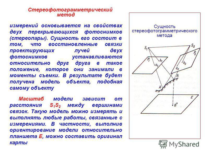 Стереофотограмметрический метод измерений основывается на свойствах двух перекрывающихся фотоснимков (стереопары). Сущность его состоит в том, что восстановленные связки проектирующих лучей двух фотоснимков устанавливаются относительно друг друга в т