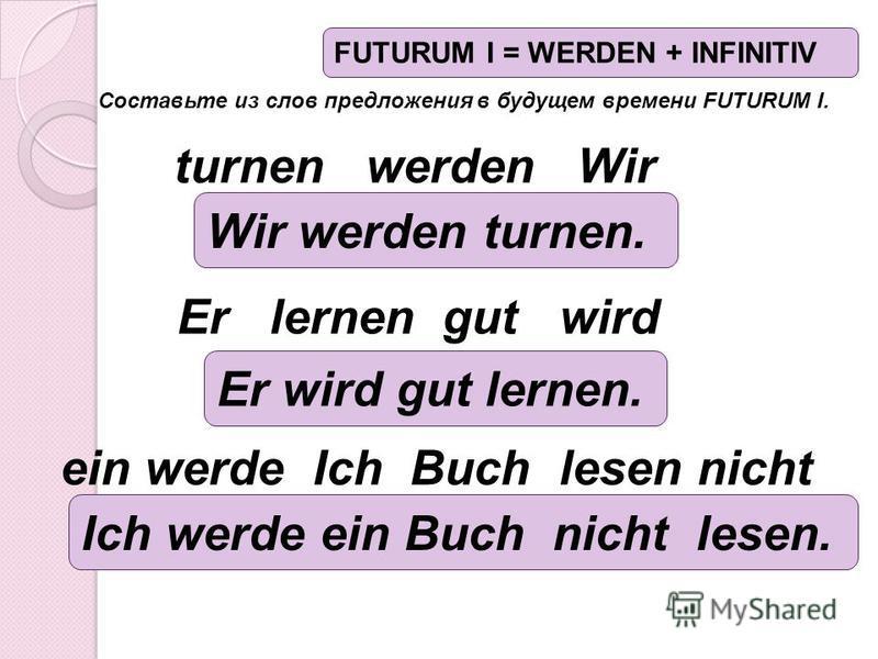 Составьте из слов предложения в будущем времени FUTURUM I. ein werde Ich Buch lesen nicht Er lernen gut wird turnen werden Wir Wir werden turnen. Er wird gut lernen. Ich werde ein Buch nicht lesen. FUTURUM I = WERDEN + INFINITIV