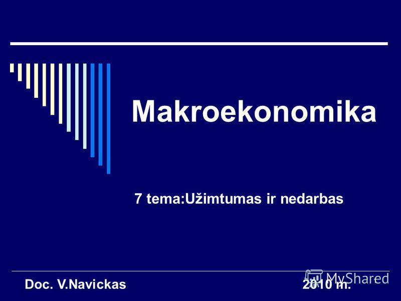 1 Makroekonomika 7 tema:Užimtumas ir nedarbas Doc. V.Navickas2010 m.