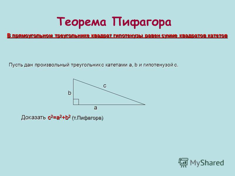 Теорема Пифагора В прямоугольном треугольнике квадрат гипотенузы равен сумме квадратов катетов Пусть дан произвольный треугольник с катетами a, b и гипотенузой c. a bc Доказать c 2 =a 2 +b 2 (т.Пифагора)