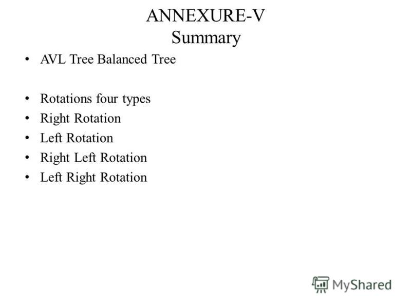 ANNEXURE-V Summary AVL Tree Balanced Tree Rotations four types Right Rotation Left Rotation Right Left Rotation Left Right Rotation