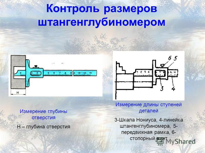 Контроль размеров штангенглубиномером Измерение глубины отверстия Н – глубина отверстия Измерение длины ступеней деталей 3-Шкала Нониуса, 4-линейка штангенглубиномера, 5- передвижная рамка, 6- стопорный винт
