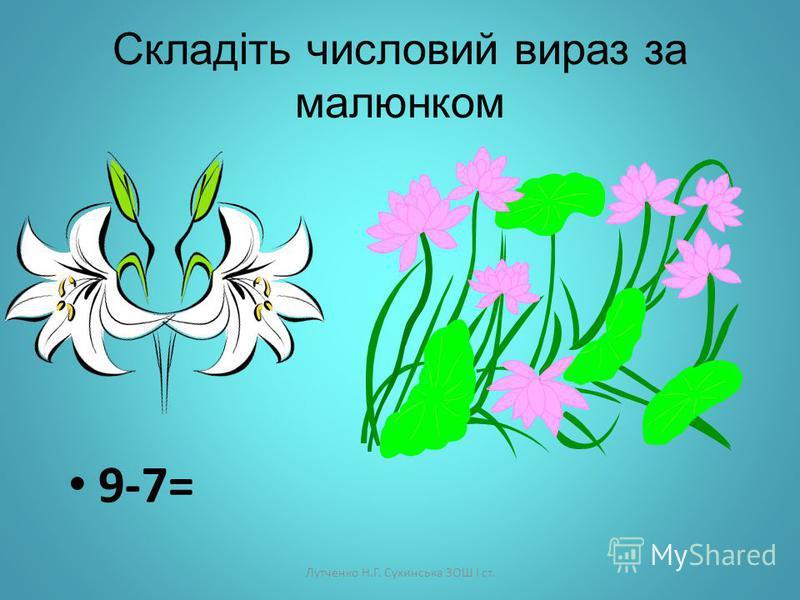 Лутченко Н.Г. Сухинська ЗОШ І ст. Підкресліть правильну відповідь 8-7= 1 2 3