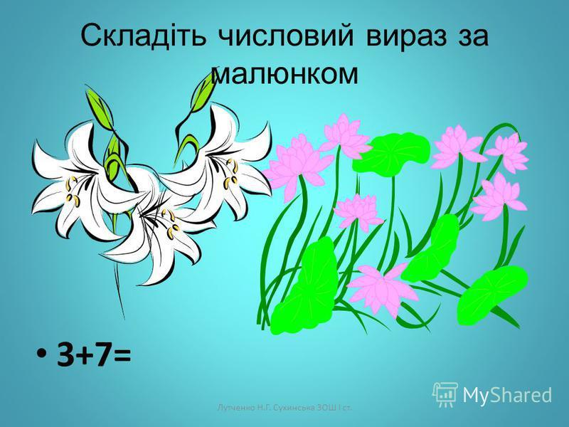 Лутченко Н.Г. Сухинська ЗОШ І ст. Підкресліть правильну відповідь 2+7= 8 9 10