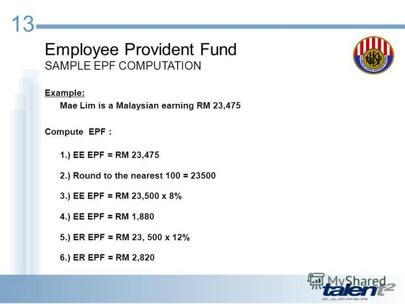 13 Employee Provident Fund SAMPLE EPF COMPUTATION Example: Mae Lim is a Malaysian earning RM 23,475 Compute EPF : 1.) EE EPF = RM 23,475 2.) Round to the nearest 100 = 23500 3.) EE EPF = RM 23,500 x 8% 4.) EE EPF = RM 1,880 5.) ER EPF = RM 23, 500 x
