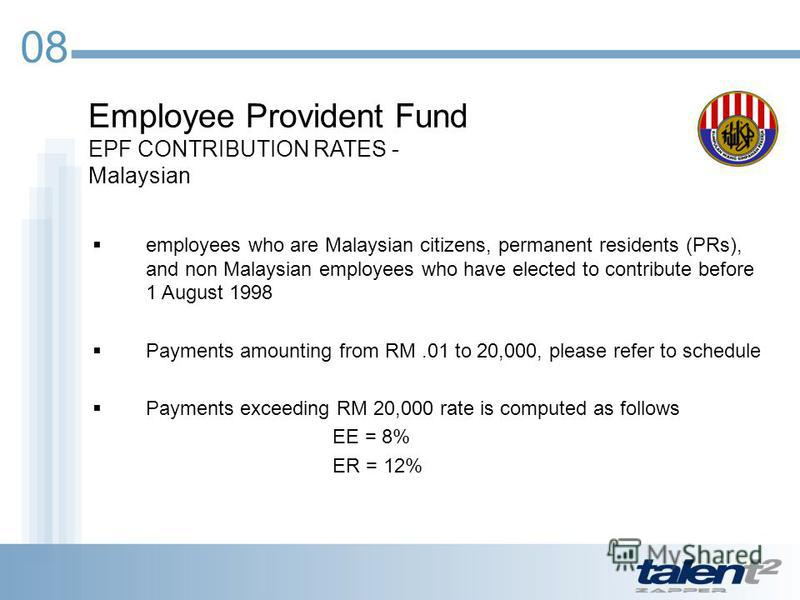 08 Employee Provident Fund EPF CONTRIBUTION RATES - Malaysian employees who are Malaysian citizens, permanent residents (PRs), and non Malaysian employees who have elected to contribute before 1 August 1998 Payments amounting from RM.01 to 20,000, pl