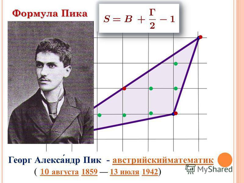 Формула Пика Георг Александр Пик - австрийский математик австрийский математик ( 10 августа 1859 13 июля 1942 ) 10 августа 185913 июля 1942