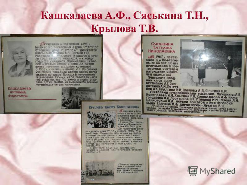 Кашкадаева А.Ф., Сяськина Т.Н., Крылова Т.В.
