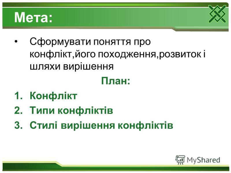 Мета: Сформувати поняття про конфлікт,його походження,розвиток і шляхи вирішення План: 1.Конфлікт 2.Типи конфліктів 3.Стилі вирішення конфліктів