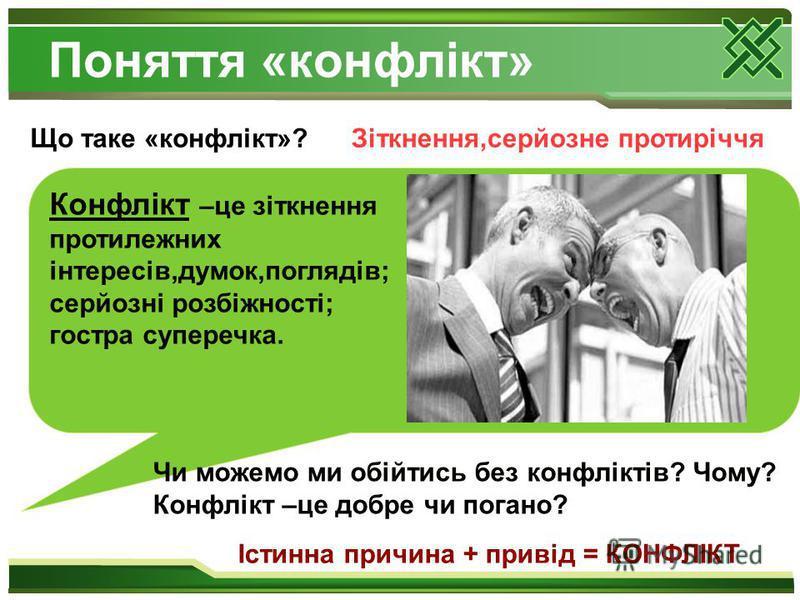 Поняття «конфлікт» Що таке «конфлікт»?Зіткнення,серйозне протиріччя Конфлікт –це зіткнення протилежних інтересів,думок,поглядів; серйозні розбіжності; гостра суперечка. Чи можемо ми обійтись без конфліктів? Чому? Конфлікт –це добре чи погано? Істинна