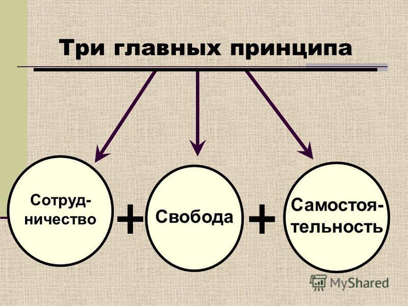 Три главных принципа Сотруд- ничество Свобода Самостоя- тельность