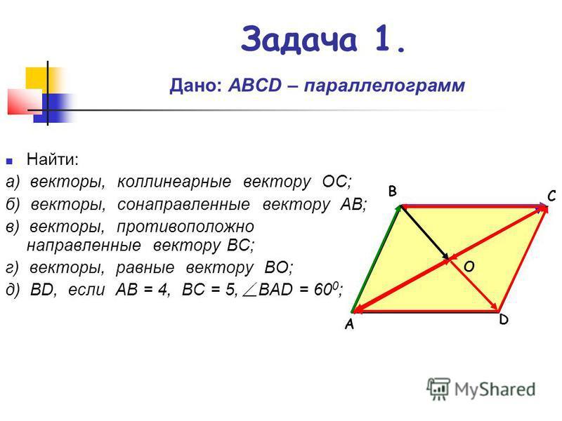 Задача 1. Д ано: АВСD – параллелограмм Найти: а) векторы, коллинеарные вектору ОС; б) векторы, сонаправленные вектору АВ; в) векторы, противоположно направленные вектору ВС; г) векторы, равные вектору ВО; д) ВD, если АВ = 4, ВС = 5, ВАD = 60 0 ; А С