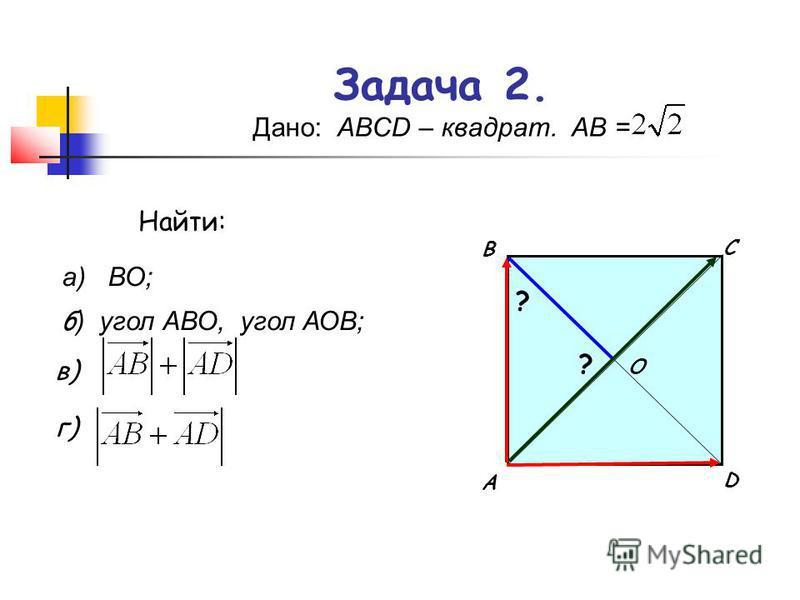Задача 2. Дано: АВСD – квадрат. АВ = А В С D O а) ВО; б ) угол АВО, угол АОВ; ? ? в) Найти: г)