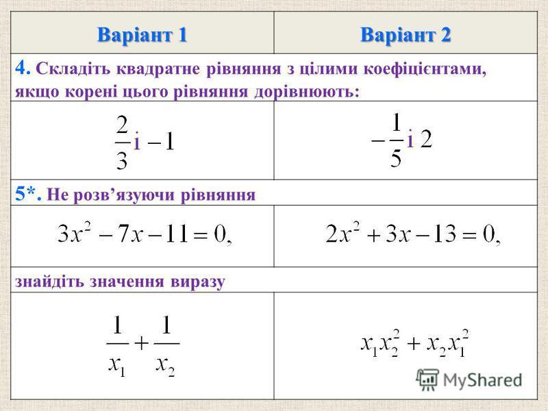 Варiант 1 Варiант 2 4. Складiть квадратне рiвняння з цiлими коефiцiєнтами, якщо коренi цього рiвняння дорiвнюють: 5*. Не розвязуючи рiвняння знайдiть значення виразу