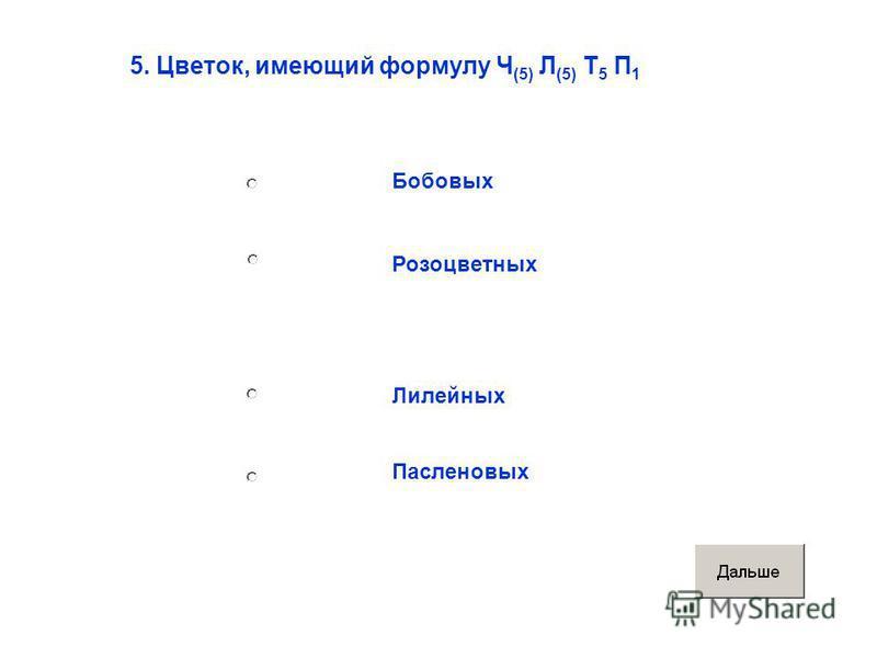 5. Цветок, имеющий формулу Ч (5) Л (5) Т 5 П 1 Бобовых Розоцветных Лилейных Пасленовых