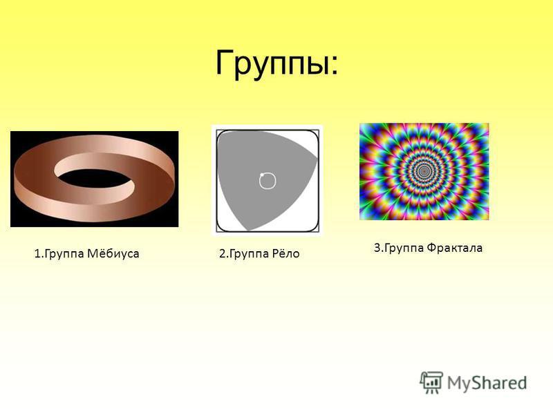 Группы: 1. Группа Мёбиуса 2. Группа Рёло 3. Группа Фрактала