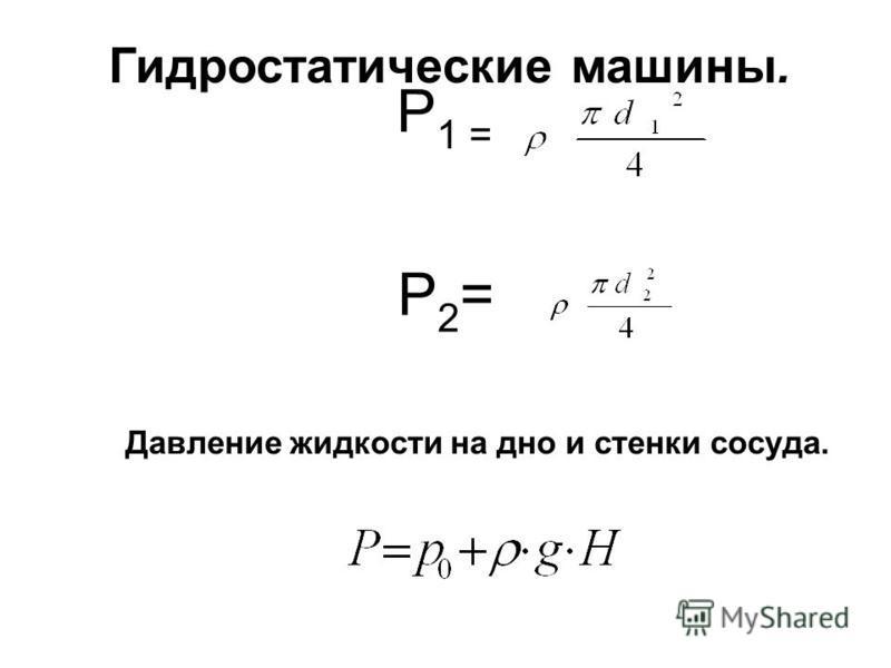 Гидростатические машины. Р 1 = P2=P2= Давление жидкости на дно и стенки сосуда.