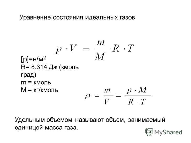 Уравнение состояния идеальных газов [p]=н/м 2 R= 8.314 Дж (кмоль град) m = кмоль М = кг/кмоль Удельным объемом называют объем, занимаемый единицей масса газа.