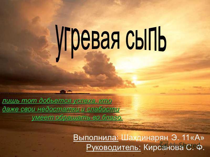 Выполнила: Шахдинарян Э. 11«А» Руководитель: Кирсанова С. Ф. лишь тот добьется успеха, кто даже свои недостатки и слабости умеет обращать во благо.
