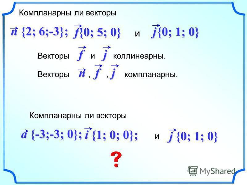 Компланарны ли векторы и f{0; 5; 0} n {2; 6;-3}; Векторы и коллинеарныйййй.fj j Векторы,, компланарныей.nfj {0; 1; 0} Компланарны ли векторы и a {-3;-3; 0}; i {1; 0; 0}; j {0; 1; 0}